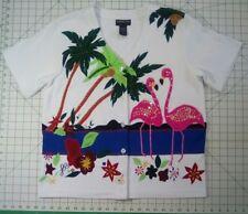 Flamingo applique knit top Size Small by Morgan Cole