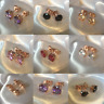 Classic 18k ROSE GOLD filled STUD earrings, 7mm round cz gemstones Plum UK BOXED