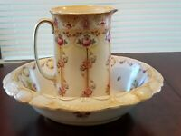 VINTAGE WM ADAMS & CO ENGLAND PITCHER AND LARGE OVAL WASH BASIN CROWN/LYNTON