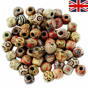 100 Pcs Large Hole Mixed BOHO Wooden Beads for Macrame Charms DIY Jewelry Crafts