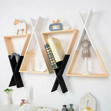 Baby Wooden Wall Shelf Hanging Organizer Triangle for Bedroom Art Home Study