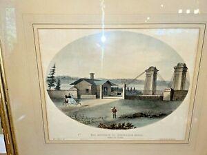 Winslow Homer Bridge Ottawa Canada Antique 19th Century Lithograph Hudson River