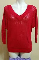 Express Women's Red Wool Loosely Knit Hole V-Neck Dolman Sleeve Sweater Size M