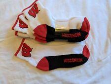 Wisconsin Badgers 3 pack women's ankle footie socks size 7-9, New