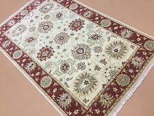 """3'.11"""" X 6'.2"""" Beige Red Ziegler Persian Oriental Area Rug Hand Knotted Wool"""