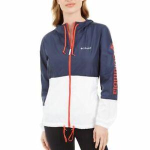 Columbia Womens Nocturnal White Bold Orange Flash Forward Logo Jacket Size L $60