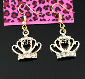 New Betsey Johnson Gold crab Pearl Crystal Dangle Hook Earrings woman Jewelry