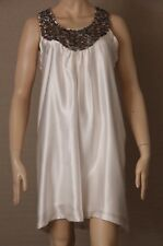 *New With Tag* KACHEL Size 12 White Hammered Silk A-Line DRESS Beaded $189