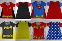 Superman Batman Robin Wonder Woman DC Sublimation Caped Costume Junior T-Shirt