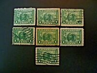 USA Lot of 7 1913 $.01 #397 Panama-Pacific Expo Issue Used - See Description