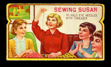 Vintage Sewing Susan Needle Book Booklet with Needles 1950s Sewing Kit Needles