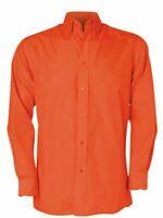 Orange Mens Workforce Shirt Poly Cotton Long Sleeve Shirt Size Medium