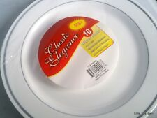 LTB: CLASSIC ELEGANCE SILVER TRIM PARTY PLASTIC DINNER PLATE 10's