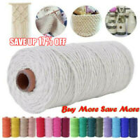 Macrame Rope Cotton Twisted Cord Hand Craft String DIY Decoration 2mm*91m
