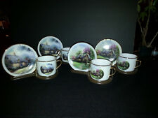 4 Thomas Kindade Moonlight Cottage & Perfect Summer Day Coffee Cup & Saucer
