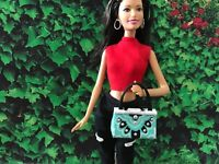 Barbie Doll Purse OOAK Teal with Silver Embellishments
