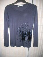 Witchery 8 Fourteen Girl's long sleeve navy Top with sequins   Size 14 (teens)