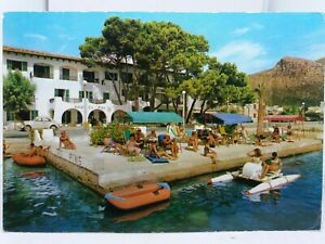 Vtg Postcard Guests Relax on PrivateJetty Hotel Sis Pins Puerto Pollensa Majorca