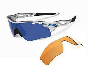 Oakley 9181 Radarlock Path Silver Frame Ice Iridium / Persimmon Case & Box RARE