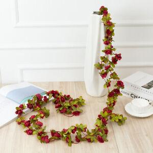 2Pcs Artificial Faux Flower Silk Rose Leaf Garland Vine Ivy Wedding Garden Decor