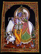God Radha Krishna Painting Sequin Religious Batik Wall Hanging Large ASBL002