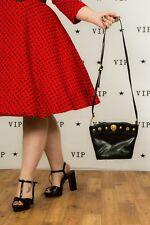 Designer Vintage nero e oro con borchie LEONI Testa Bucket bag borsa a tracolla