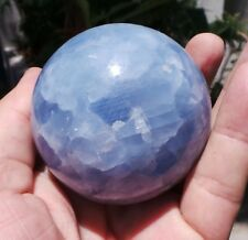 sphere  360g 63mm CALCITE BLEUE INTENSE  pierre de Madagascar  H884 boule