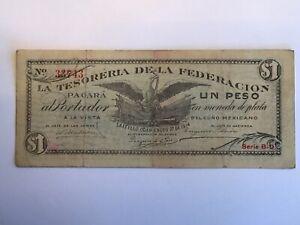 Mexico Vintage 1914 Un Peso La TESORERIA  #S647 Currency Note