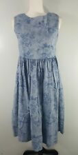 VTG Laura Ashley Floral Blue Denim Cotton Smock Pinafore Dress Pockets SZ 8