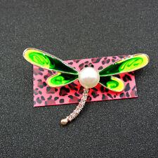 Cute Pearl Dragonfly Brooch Pin Charm Animal Betsey Johnson Green Enamel