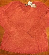 NWT Women's Spense Knits Heather Zinfandel L/S Vneck Sweater Size XL X-LARGE