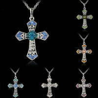 HOT Silver Jewelry CROSS Crystal Pendant Sweater Chain Necklace Women Gift FO