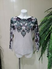 Chico's Sz 1 Pullover Long Sleeve Ivory Sweater Paisley Print