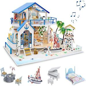DIY Blue Sea Wooden Miniature Dollhouse With Furniture Kids Toys Christmas Gifts