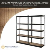 2 x 0.7M Warehouse Shelving Racking Storage Garage Steel Metal Shelves Rack
