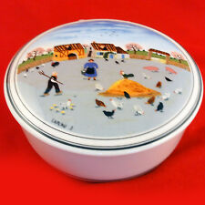 "NAIF DESIGN Covered Round Box 6"" Villeroy & Boch NEW NEVER USED Farm & Chickens"