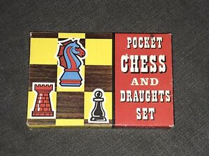VINTAGE BOXED POCKET CHESS AND DRAGHTS SET