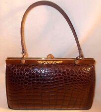 Beautiful vintage 1950's padded crocodile skin handbag with enamel top perfect