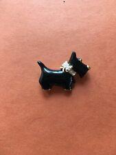 Black Enamel Scottish Terrier Rhinestone Collar Brooch  Carolee