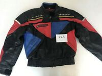 "Damen Vintage Motorcycle Jacket Real Leather Black/Red Armpit 22"" Lgth 23"" (825)"