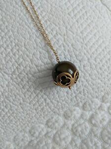 "Vintage Pilgrim Danish Design Olive Green Ball in Gold Tone Pendant 30"" Necklace"