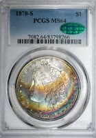 1878-S Morgan PCGS MS64 CAC-Verified Stunning Rainbow Toned Silver Dollar!