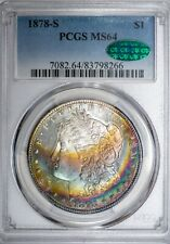 1878-S Morgan PCGS MS64 CAC-Verified Stunning Rainbow Toned Silver Dollar!