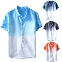 Men's Linen Short Sleeve Button Down T-shirt Tops Slim Fit Casual Stylish Shirts