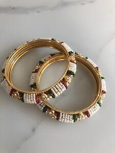 Karaa / Bangles Set Multi Colour White Pearls Design-Size 2.6 Costume Jewellery
