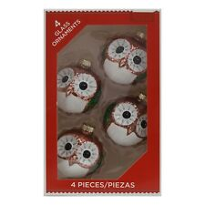 """New Holiday Time Pink 2.25"""" Owl Glass Ornaments Merry Christmas Set of 4"""
