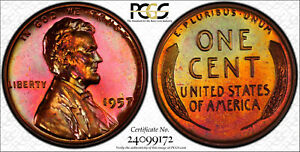 1957 Lincoln Wheat Cent PCGS PR64RB Rainbow Toning Trueview Proof Color