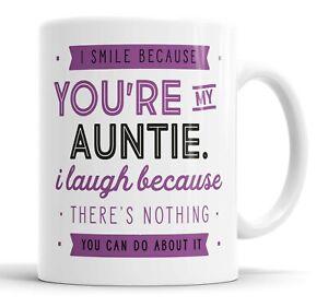 I Smile Because You're My Auntie Mug Sarcasm Sarcastic Funny, Humour Joke Mugs