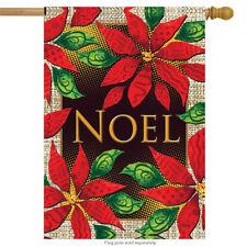 "Noel Poinsettias Floral House Flag Christmas 28"" x 40"" Rain or Shine"