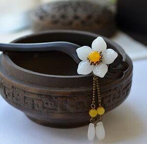Oriental classic style handmade macassar ebony wood with jade/glass flower